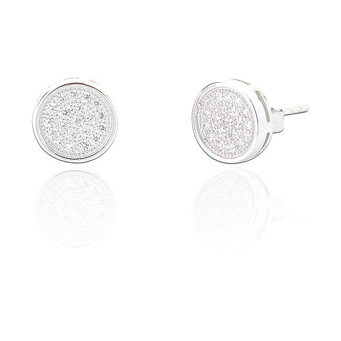Seodra Sterling Silver & Cubic Zirconia Button Earrings