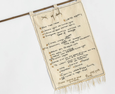 """My Truth Banner Manifesto (2019) thread, gold leaf and pen on fabric and bamboo, 35x22"""""""