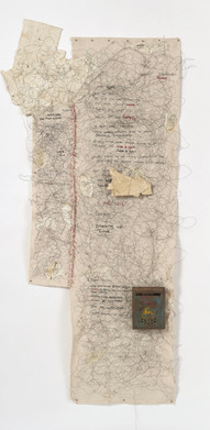 """Letters From Home (2019) canvas, thread, charcoal, graphite, pen, bamboo, found objects, 78x34"""""""
