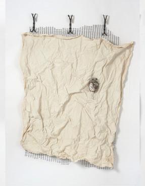 "Remove Before Flight (2019) canvas, acrylic, wire, plaster, deer mesh, custom metal hooks, 58x52"""