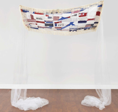 """I Now Declare You: One! (2019) canvas, paper, plastic bag, thread, oil stick, latex paint, acrylic, graphite, sequins, ribbon trim, tulle, 60x46x2"""""""
