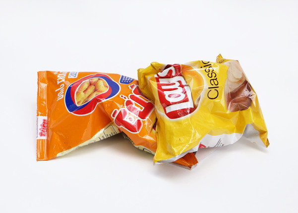 """Married Objects (7) (2019) food items, clothing, packaging materials, currency, paper, resin, wood, 5x9"""" each."""