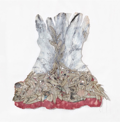"""The Sacrifice of Our Issacs (2020), canvas, newspaper, brown paper bags, thread, charcoal, acrylic. 66x64"""""""