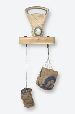 """Metrics of Loss and Gain (2019) found objects, burlap, dirt, resin, rope, wood, 46x19x9"""""""