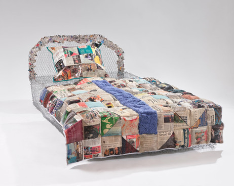 """My (Un)Comfort Zone (2019) Chicken wire, fencing wire, saftey pins, newspaper, fabric, ribbon, spray paint, crochet squares, zip ties, 35x47x68"""" (bed)"""