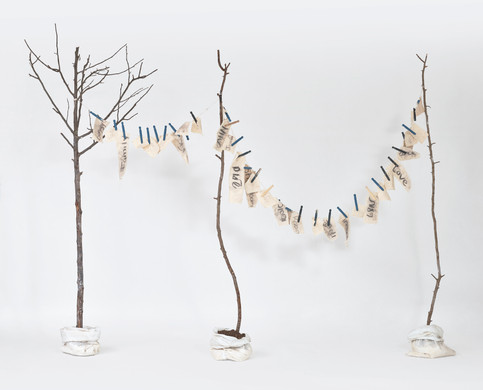 """My Laundry List of Words (2019) canvas, charcoal, graphite, twine, bark, dirt, clothes pins, plaster, sand bags, dirt, thread, paper, 81x67x15"""""""