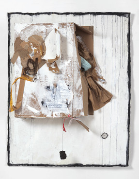 """My Road Less Travelled (2019) canvas, acrylic, latex, charcoal, graphite, cardboard, packaging material, paper, found objects, asphalt, wire, 63x50x9"""""""
