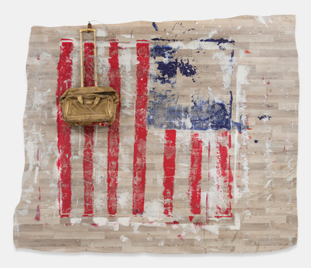 """Is This What Our Founding Fathers Had in Mind? (2019) linoleum, latex paint, barbed wire, spray paint, found objects mounted on wood, 81x91x13"""""""