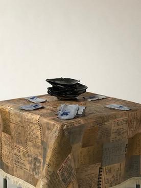 "Around My Mother's Table (2019) paper, fabric, ribbon trim, glazed clay, 34x34x28"""