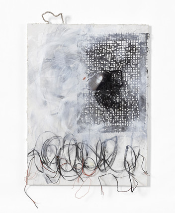 """Fragmented Cords of Steel and Fiber (2018), acrylic, charcoal, paper, electrical wires, photography, graphite, 36x48"""""""