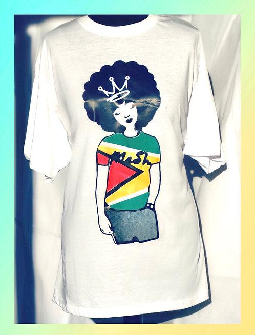 Jen in her Guyana T-shirt