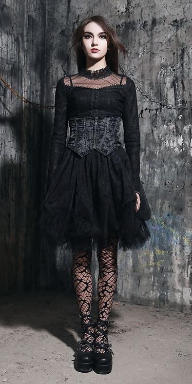 Pentagramme - Lace Skirt with Brocade Waist Cincher