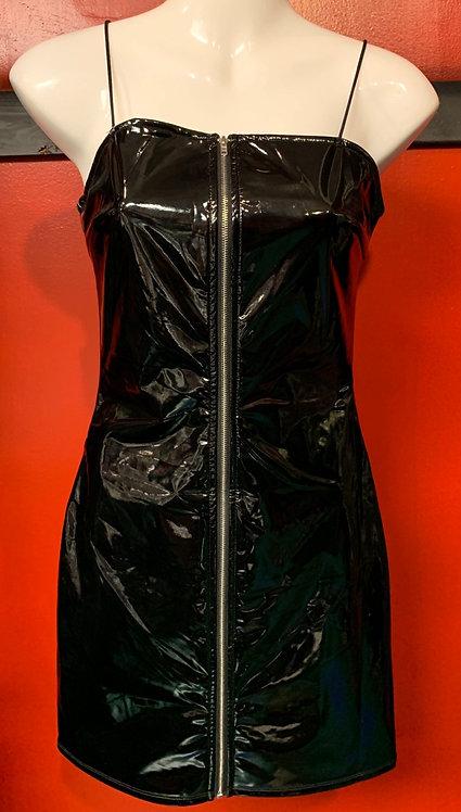 Bear Dance - Black PVC Zip-Up Dress