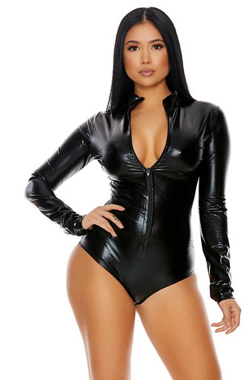 ForPlay - Zipfront Metallic Bodysuit