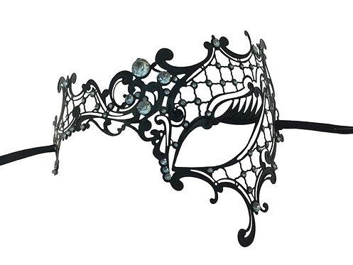 KBW - Laser-Cut Metal Venetian Mask with Clear Diamonds