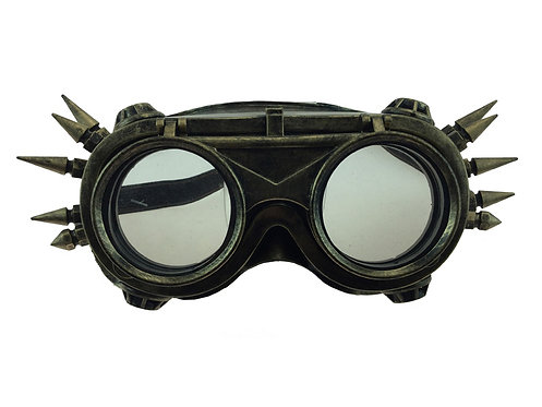 KBW - Gold Spiked Steampunk Aviator Goggles