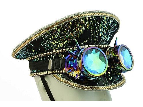 KBW - Black Peacock Burning Man Sequin Hat