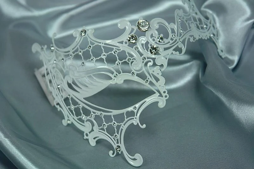 KBW - White Laser-Cut Metal Venetian Mask