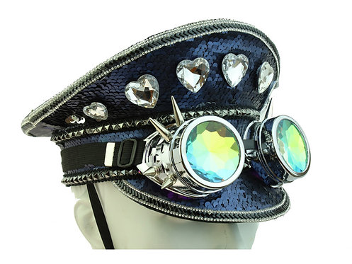 KBW - Dark Blue Burning Man Sequin Heart Hat
