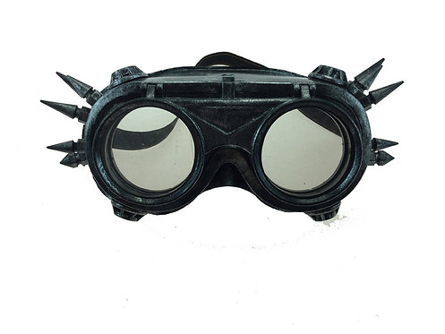 KBW - Silver Spiked Steampunk Aviator Goggles