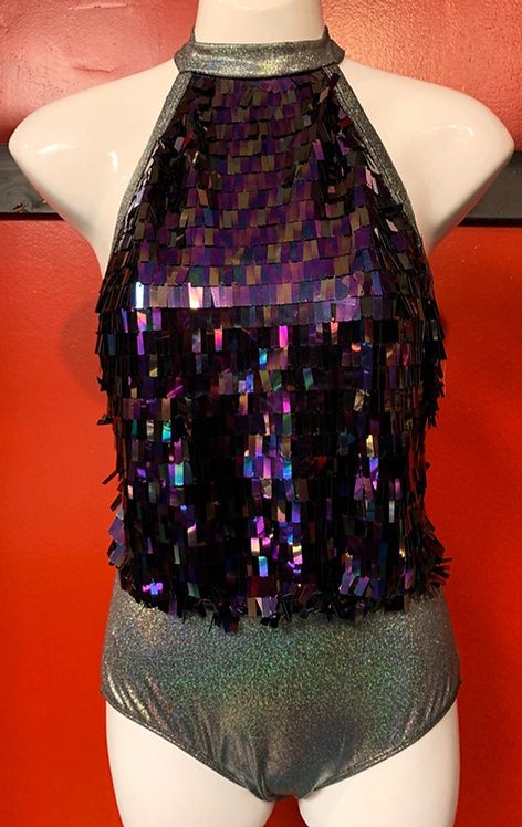 Bear Dance - Silver Glitter and Purple Holographic Bodysuit