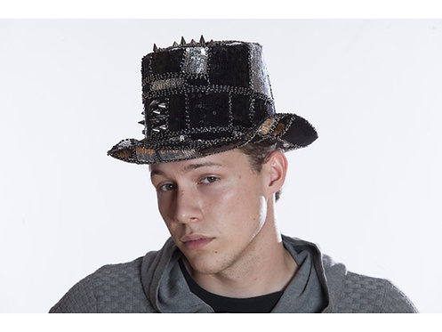 KBW - Silver Black Burning Man Hat Top with Sequins