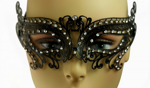 KBW - Black Laser-Cut Metal Venetian Mask