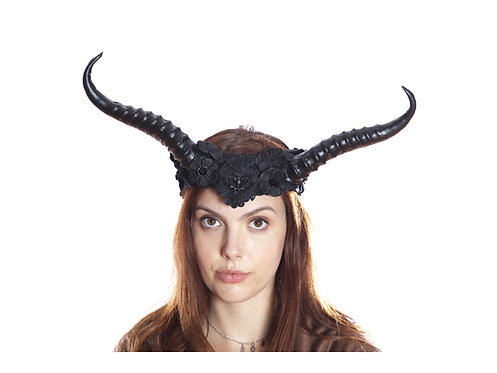 KBW - Black Vintage Style Horned Headband