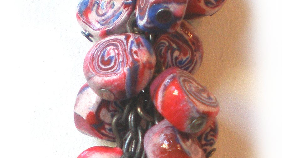 Blue-white-red beads in a bunch