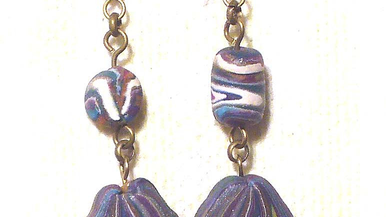 Earrings Colorful marble
