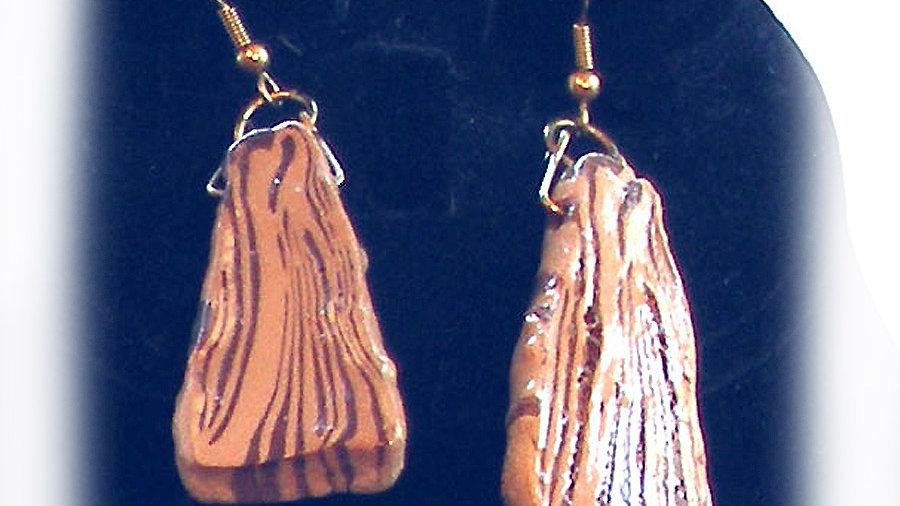 Earrings Wood-like brown
