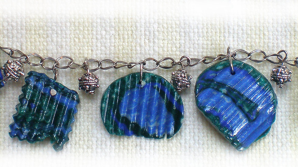 Blue-green ridged beads