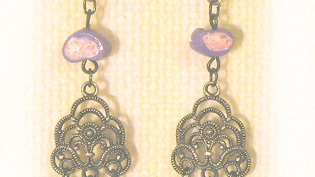 Earrings Beads on metal