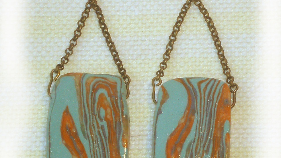 Earrings Turquoise marble