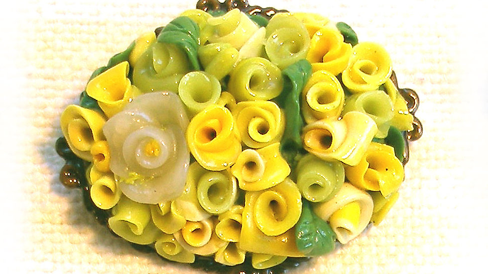 Yellow bouquet on metal plate