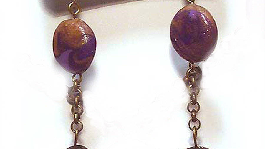 Earrings Purple-brown beads