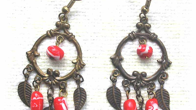 Earrings Red drop beads on frame