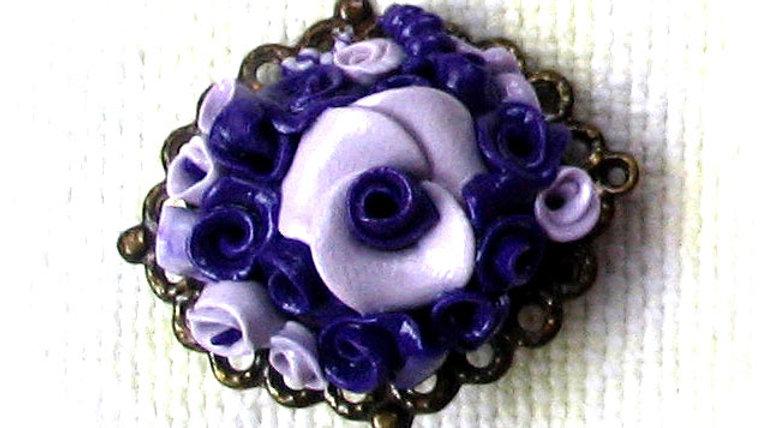 Blue-white-purple bouquet on metal plate