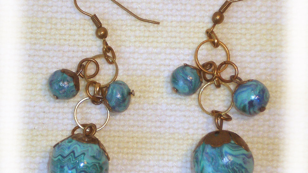 Earrings Blue turquoise round beads