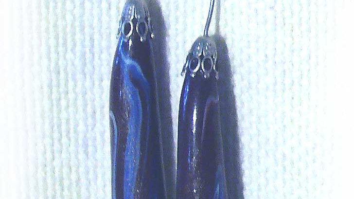 Earrings Long blue marble