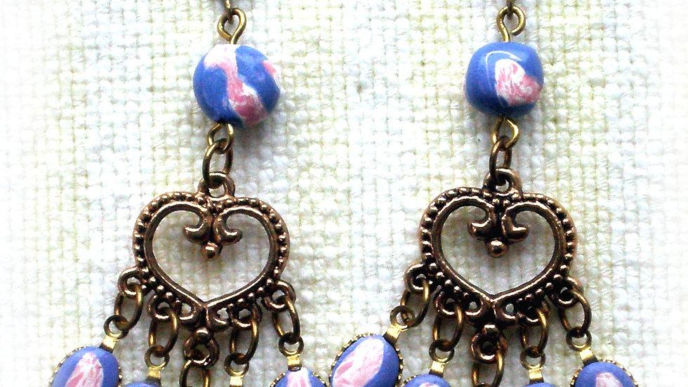 Earrings Blue-pink beads