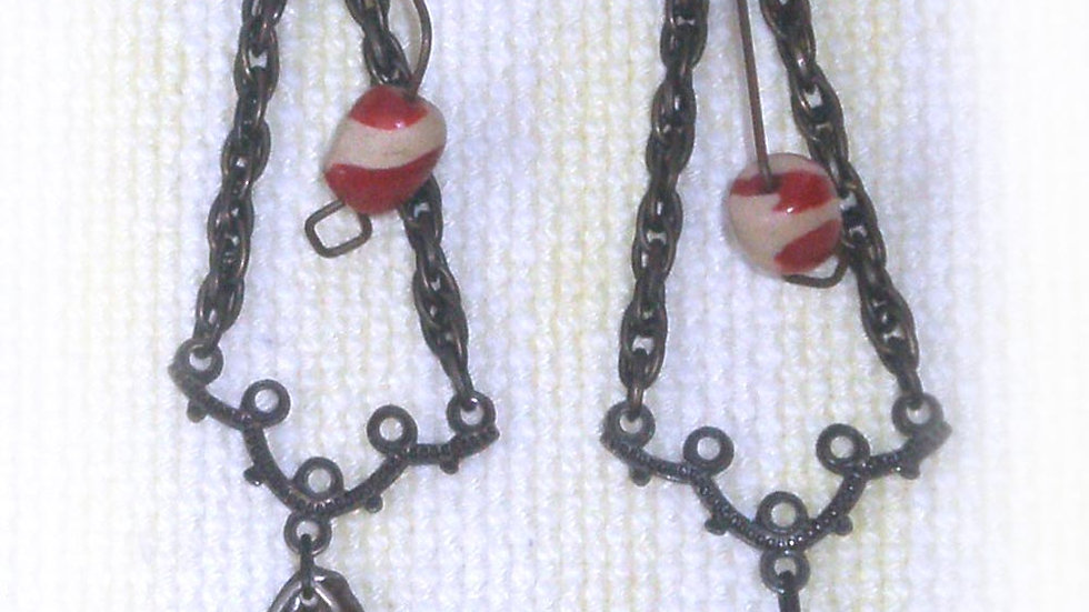 Earrings Beads on metal frame