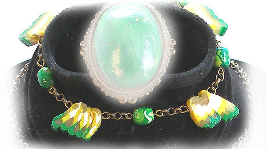Green-yellow-white beads