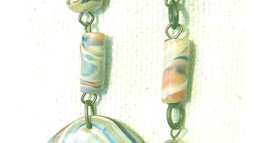 Earrings Colorful marble