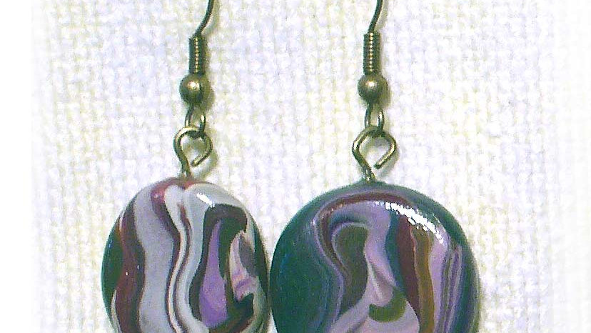 Earrings Colorful Marble Coin