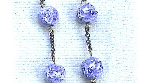 Earrings Blue-white marble beads