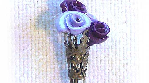 Earrings Purple flowers in metal cone