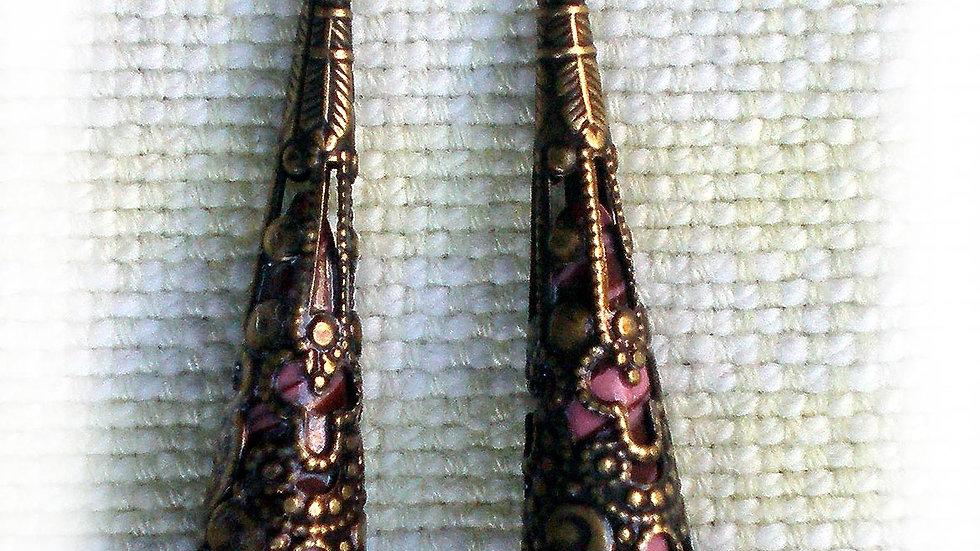 Earrings Purple marble in metal cone