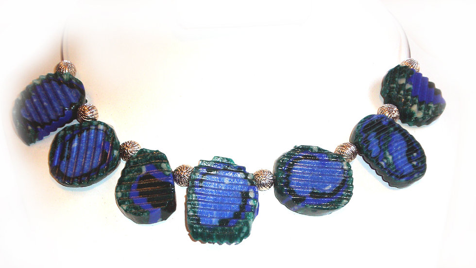 Blue-green ridged pieces