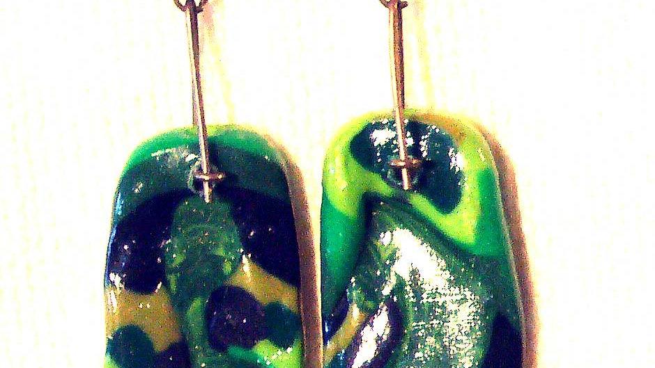 Earrings Green-yellow marble